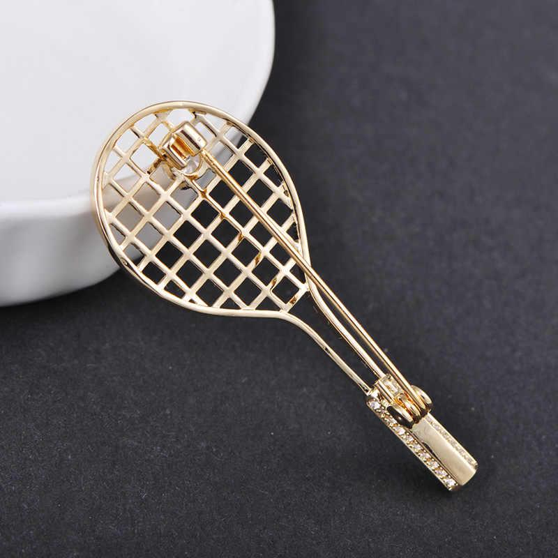 Blucome Squisita Mini Racchetta Da Badminton Spilla di Rame Zircon Dei Monili Per Le Donne Degli Uomini Abbigliamento Cappotto Del Maglione di Modo Spille Accessori