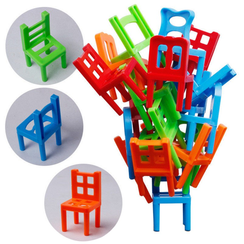 Hehepopo 18 Pcs / Set Board Game Balance Chairs Adult Kids Stacking Game Parent Child DIY Interactive Table Games Original Box
