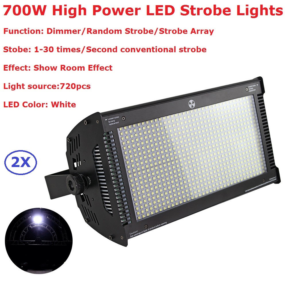 2Pack Stage Strobe Lights 700W Atomic High Power White LED Strobe Lights With Show Room Effects Indoor Entertainments Lighting