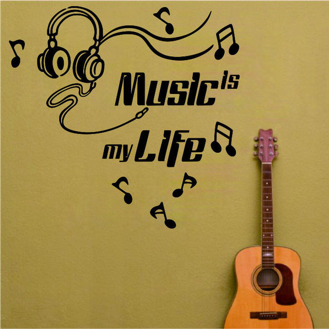 Headset Music Notes Art Wall Sticker For Kids Bedroom Room Removable ...
