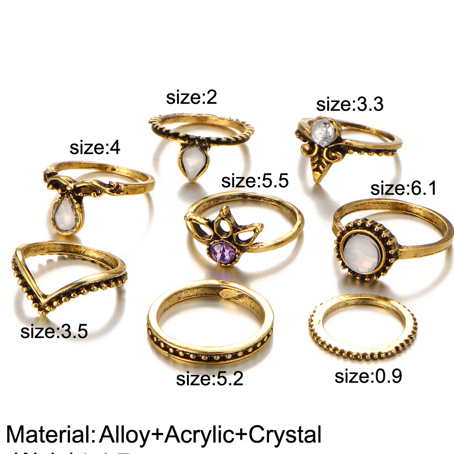 Midi Ring Set Antique Gold Silver Midi Finger Knuckle Rings Women Crystal Rhinestone Flower Triangle Boho Jewelry Accessories