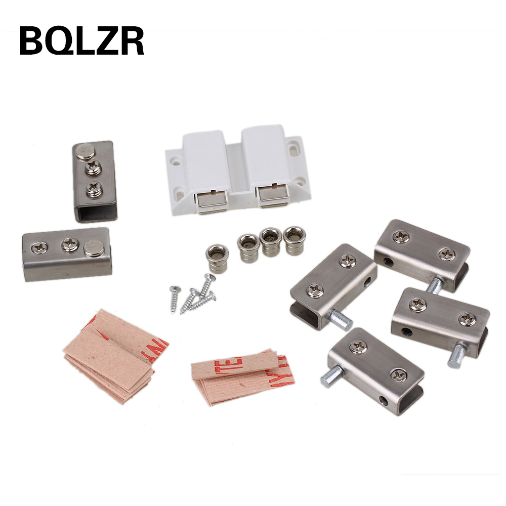 BQLZR Pair Double Door Set Glass Door Pivot Hinge Set Door Strike