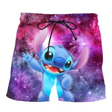 PLstar Cosmos Dropshipping 2019 Summer Mens Casual Shorts Stitch 3d Printed Stary Sky Elastic Short Trousers