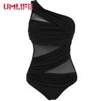 2017 Sexy Mesh Swimwear Women One Piece Swimsuit Solid Black Blue Monokini Bathing Suit Beach Swim
