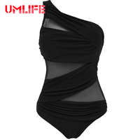 2017 Sexy Mesh Swimwear Women One Piece Swimsuit Solid Black Blue Monokini Bathing Suit Beach Swim