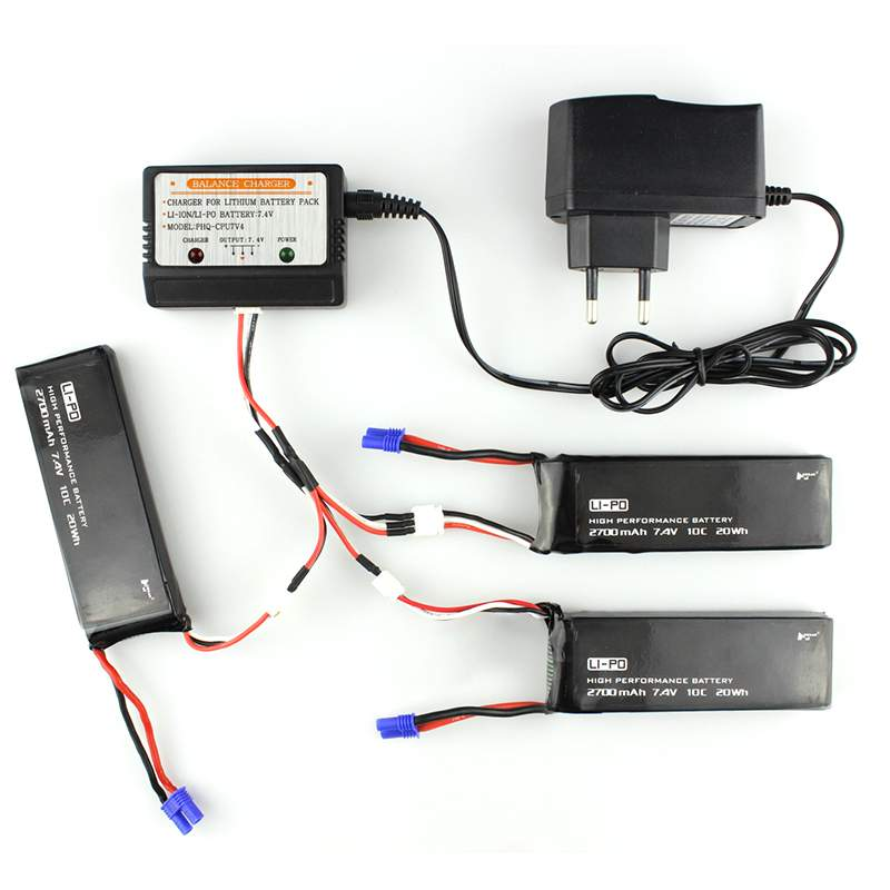 3pcs 7.4V 2700mah battery 10C lipo w/ Charger and 3in 1 cable for Hubsan H501C rc Quadcopter Airplane drone Spare Part 3pcs 3 7v 900mah li po battery 3 in 1 black us regulation charger and charging cable for rc xs809 xs809hc xs809hw drone