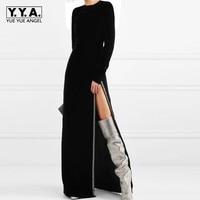 Бархатной сексуальные высокие Разделение бусины бриллианты вечерний халат с длинным рукавом Slim Fit Высокая Талия Bodycon платья взлетно посадо