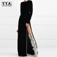 Бархатные сексуальные с высоким разрезом бусины бриллианты вечерний халат с длинным рукавом облегающее платье с высокой талией подиум мак