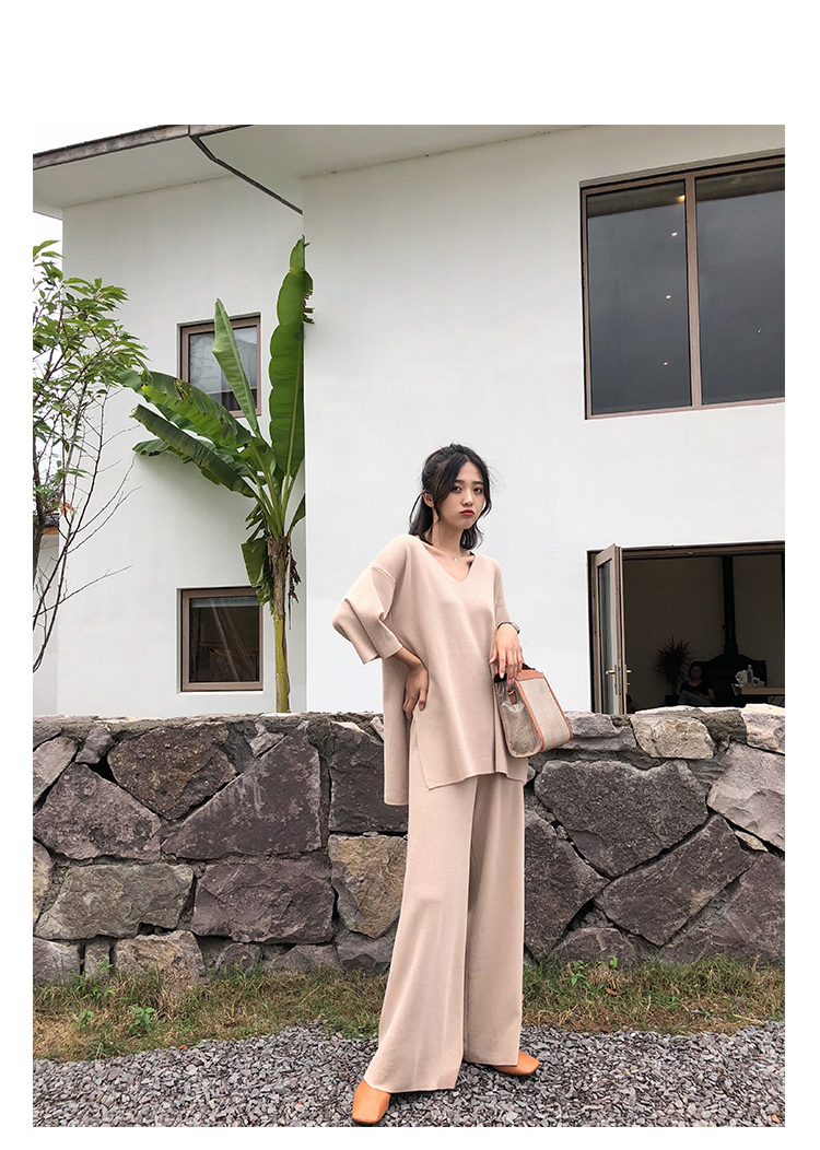 Knitting Female Sweater Pantsuit For Women Two Piece Set Knitted Pullover V-neck Long Sleeve Bandage Top Wide Leg Pants  Suit 15