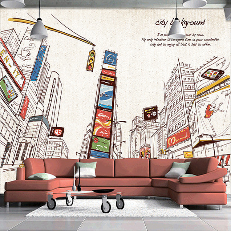 Custom Size Photo 3D stereo mural living room sofa TV dining room backdrop hand-painted street New York City wallpaper mural custom mural wallpaper european style 3d stereoscopic new york city bedroom living room tv backdrop photo wallpaper home decor