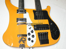 New Double neck bass guitar 4 string bass and 12 string guitar yellowElectric Guitar OEM Available