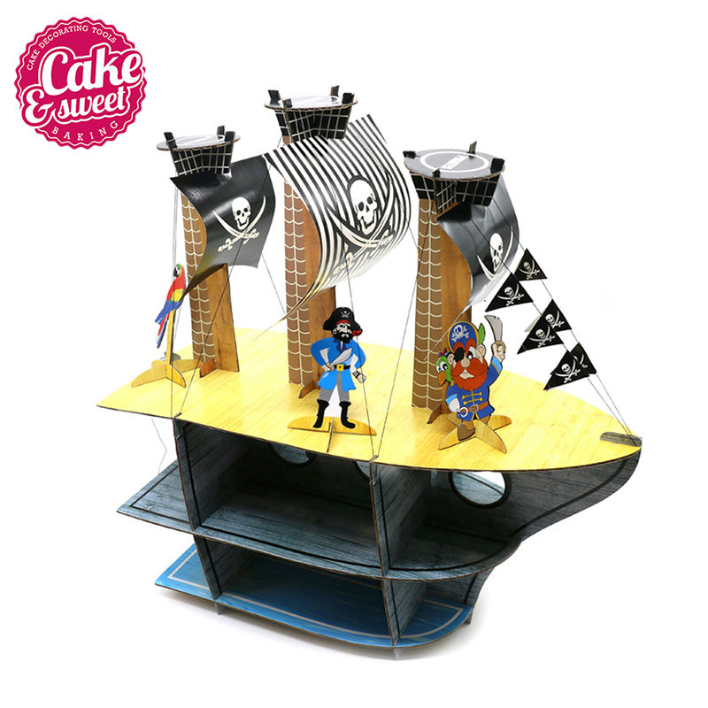 1Pcs 3 Tier Pirate ship Gardboard Cupcake Stand for Wedding Decoration Party Cake Display Decorations Patisserie