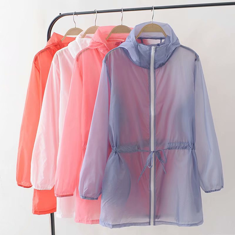 Summer White Hooded Sunproof Cardigan Beach Blouse Sunscreen See Through   Basic     Jacket   Women Girl Oversize Coat