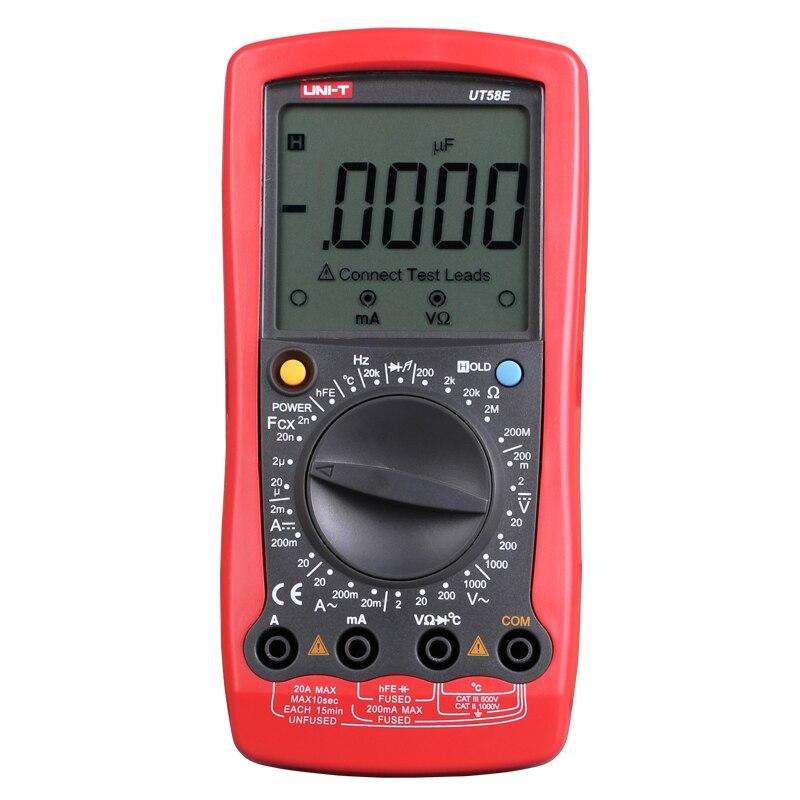 UNI-T UT58E Ammeter Multitester DMM Digital Multimeters DC/AC Voltage Current Resistance Capacitance Tester Data