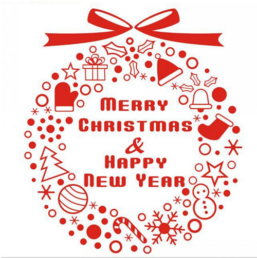 Merry Christmas Decorations & Happy New Year Gifts Wall Decals Window Wall Stickers Red Wallpaper Shop Home Decoration