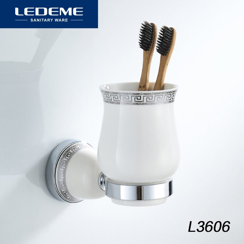 LEDEME Wall mounted Toothbrush Ceramic Cup Holder Soild Chrome Bathroom Accessories Wall Decoration Cup Tumbler Holder L3606 yanjun double crystal cup tumbler holder brass wall mounted toothbrush cup holder bathroom accessories cup holder yj 8065 page 10