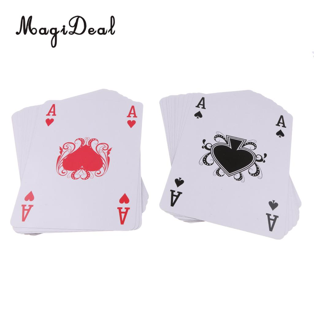 MagiDeal A4 Size Full Deck Super Big Jumbo Jumbo Poker Index Playing Cards Board Game for Party Entertainment Magic Tricks Toy