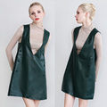 Spring and autumn women genuine leather dress green female slim big V-Neck A-Line short sheepskin real leather Button Vest dress