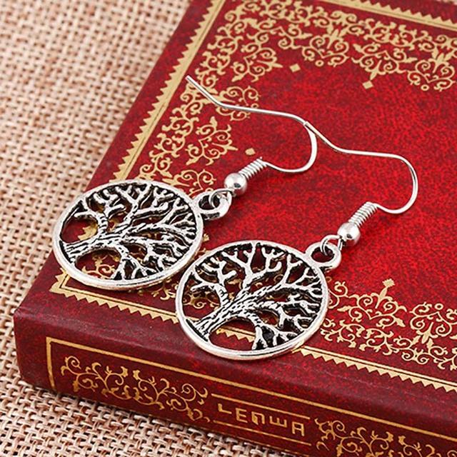 Antique Silver Plated Tree Life Drop Earrings Women Hollow Charm Dangle Earring Eardrop Ear Accessories Ethnic Jewelry