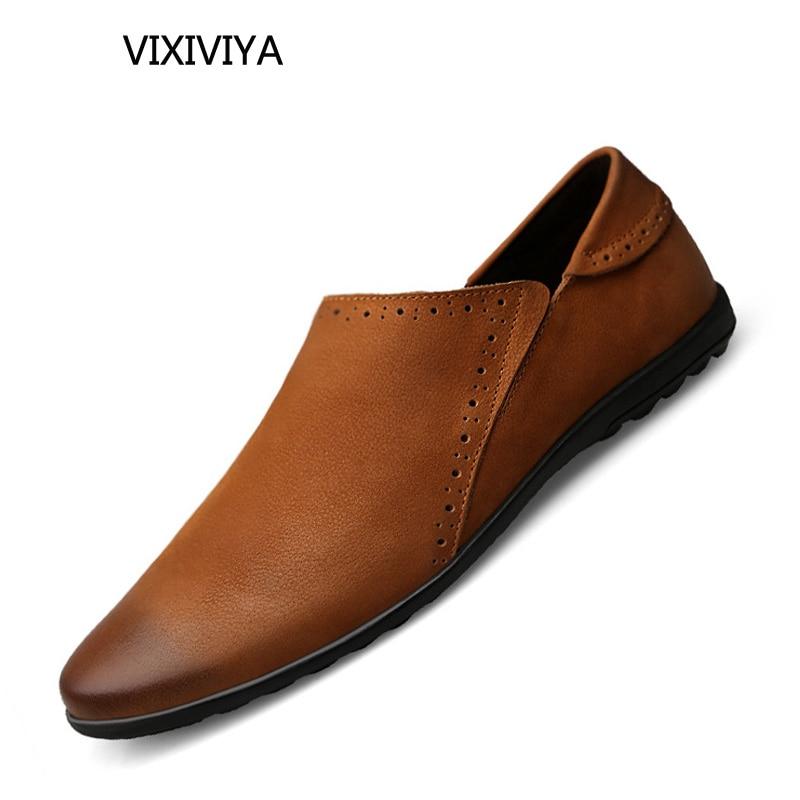 남자 신발 정품 가죽 로퍼 통기성 플랫폼 여름 신발 - 남성용 신발