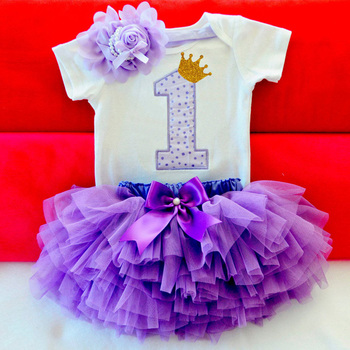 Newborn Baby Girl Clothes Sets Bebes Clothing Suits 1st Birthday Outfit Baby Rompers+Tutu Skirt+Headband Baby Christening Gift