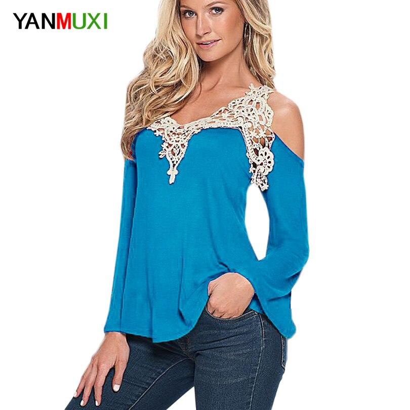 Las mujeres Blusa Camisa de La Tapa 2017 Sólido Atractivo Del Cordón Floral Homb