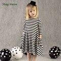Nuevo otoño niñas vestidos de los niños de la raya del vestido de los niños casuales de manga larga vestido de los niños vestidos de niñas