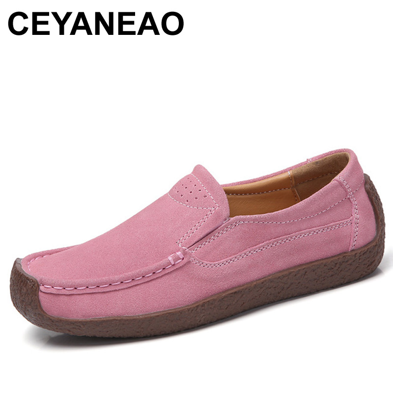 CEYANEAO Retro Genuine Leather Shoes Woman Slip On Loafers Flat Heel Casual Shoes Flats For Women Driving Shoes Size 35-41 E1291