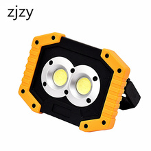 LED Work Light Rechargeable with USB Port 2X COB Light 20W 1000 Lumen Portable Lighting with Stand for BBQ Camping Fishing Light