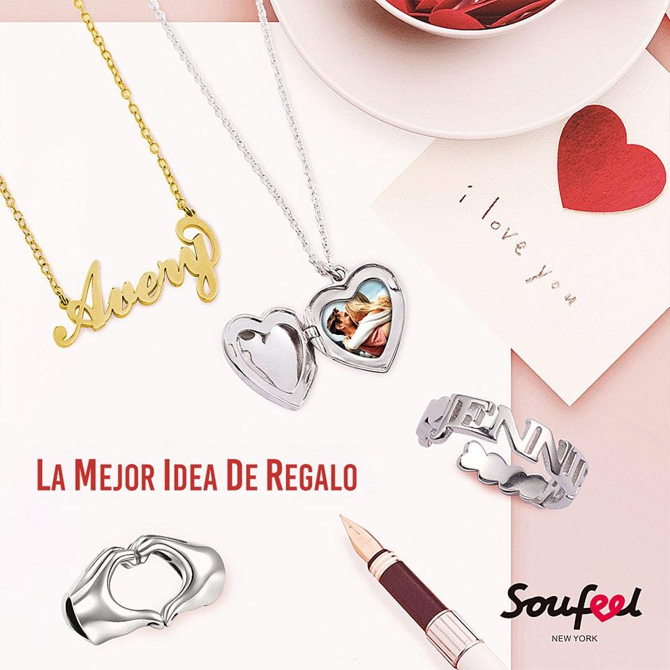 af7b39c5bfba SOUFEEL pareja anillos personalizado nombre anillo moda plata esterlina  letras bloque nombre anillo joyería mujer Decoración