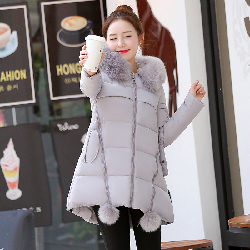 2017 Winter Parkas Women Hooded Jackets With Fur Collar A-line Female Outfits in Solid Color Ladies Coats For Cold Winter