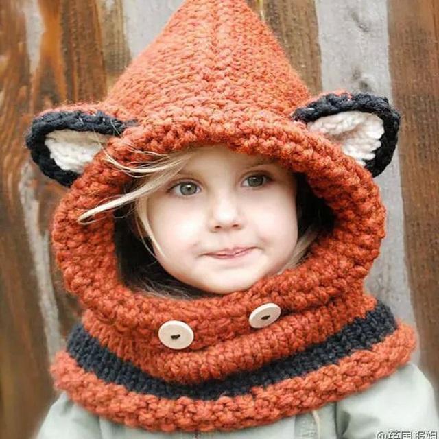 Moda Invierno Niños Crochet Sombrero Del Calentador del Cuello del Abrigo de La Bufanda de Una sola pieza gorrita tejida de Los Niños Sombreros Lindos Zorro Cuello de Ganchillo Muchacha Del Muchacho regalos