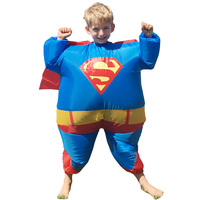 2017 New kids bambino Grasso Gonfiabile Costume Superman per Halloween Tuta Partito Fancy Blow Up Dress Carnevale Cosplay di Supereroi