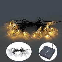 Solar Power LED String Light 20LED Waterproof Card Photo Wall Clip Fairy Lamp Home Christmas Decoration
