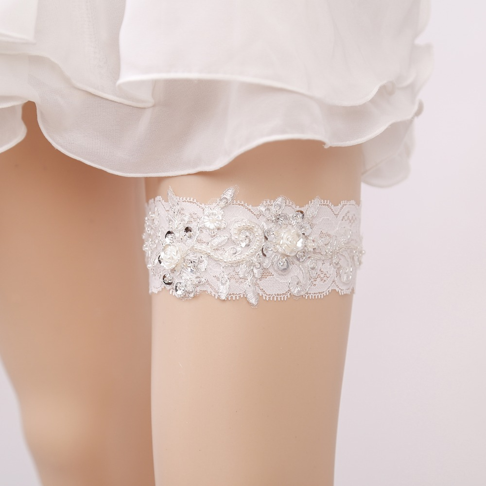 01d09ab63 Wedding Garter Rhinestone Beading White Lace Floral Sexy Garters for  Women Female Bride New