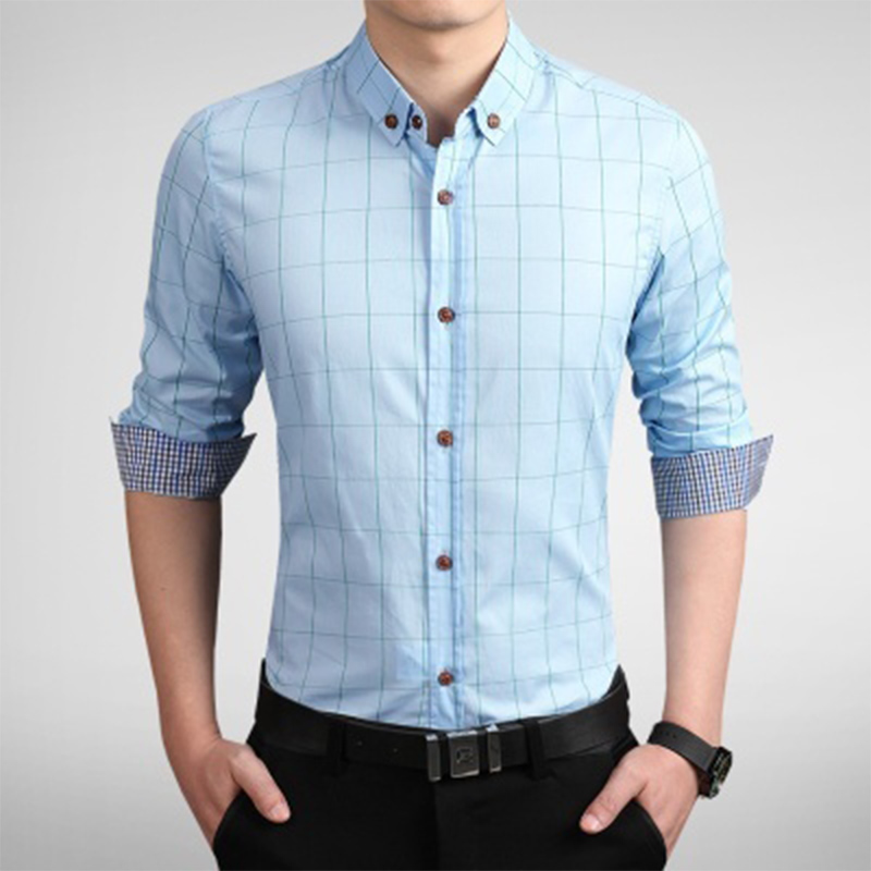 Zogaa Dress Shirt Men Slim Fit Style Boys Casual Long Sleeve Grid Plaid Cotton Classic Designer Brand Hawaiian Clothes