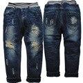 3860 дети зимние джинсы БРЮКИ МАЛЬЧИКА брюки ДЕТИ отверстие джинсы и руно теплый темно-синий дети новая МОДА ребенок