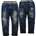 3860 kids winter  boys jeans PANTS BOY trousers  KIDS hole jeans denim and fleece warm navy blue children new FASHION child