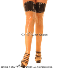 Transparent With Black Sexy Long Latex Stockings With Zipper At Back Rivets Decoration Rubber Thigh high stockings WZ-0039