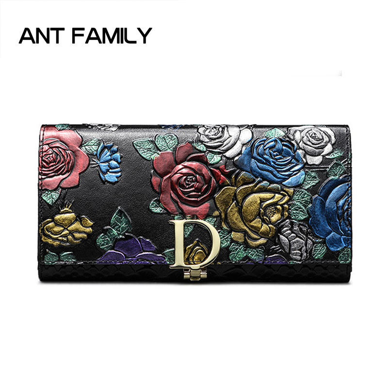 Ladies Genuine Leather Wallet Women Fashion Rose Flower Wallets Luxury Brand Coin Purse Female Clutch 3 Fold Cowhide Long Wallet genuine leather wallet women luxury brand plaid coin purse female long clutch ladies leather wallets portfel damski portomonee