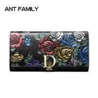 Ladies Genuine Leather Wallet Women Fashion Rose Flower Wallets Luxury Brand Coin Purse Female Clutch 3