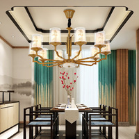YOOK 8 and 4 lights LED chandelier LED Chinese painting Chinese style lamp for living room hall chandelier bamboo lamp E14 220V