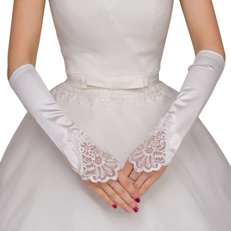 Free Shipping Women Fingerless Bridal Long Gloves Lace Trim Wedding Party Elbow Length Elegant