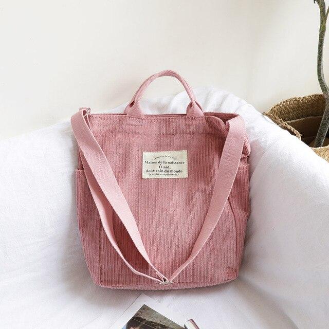Frauen Cord Schulter Tasche Große Kapazität Tuch Handtasche Tote Weibliche Crossbody Messenger Taschen Damen Einfache Leinwand Zipper Geldbörsen