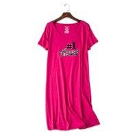 Сексуальные красные милые ночные рубашки с героями мультфильмов для женщин, летние трикотажные хлопковые пижамы, женские ночные платья, бо...