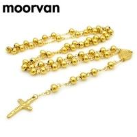 Moorvan 74 cm * 8mm, chain lange ketting kralen classic gold kleur cross mode zware chunky rvs mannen sieraden, VRN26