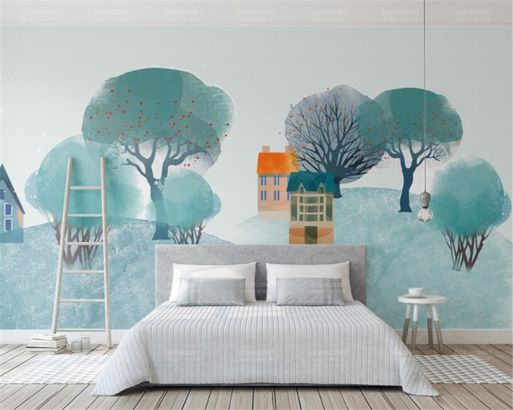 100% Wahr Beibehang Moderne Wohnzimmer Schlafzimmer Hintergrund Wand 3d Tapete Nordic Stil Wald Hügel Innen Design 3d Tapete Wandbild