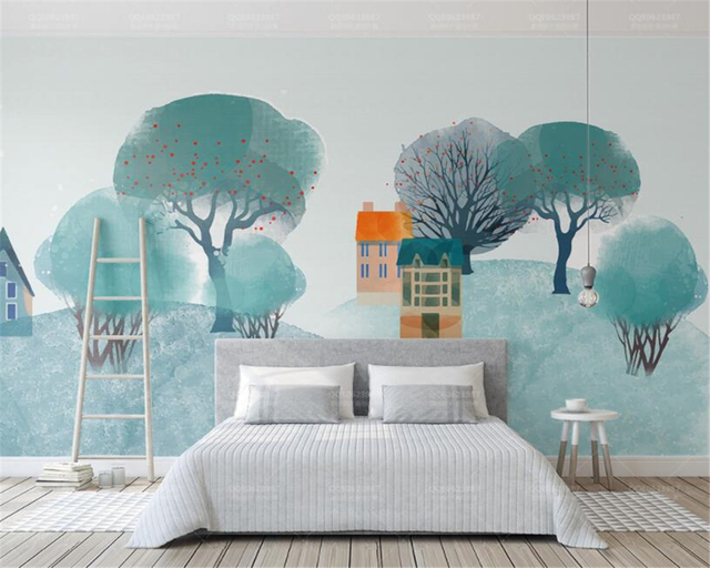 background bedroom living 3d modern interior wall nordic hill forest beibehang zoom mural wallpapers kf mouse