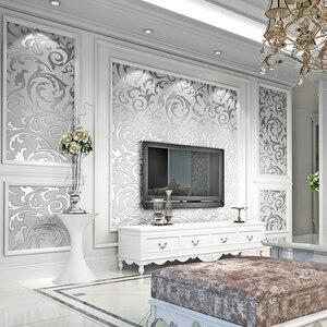 Image 1 - Роскошные Дамасские золотые и серебряные обои для стен 3 D нетканые обои для гостиной и спальни фоновые декорации обои