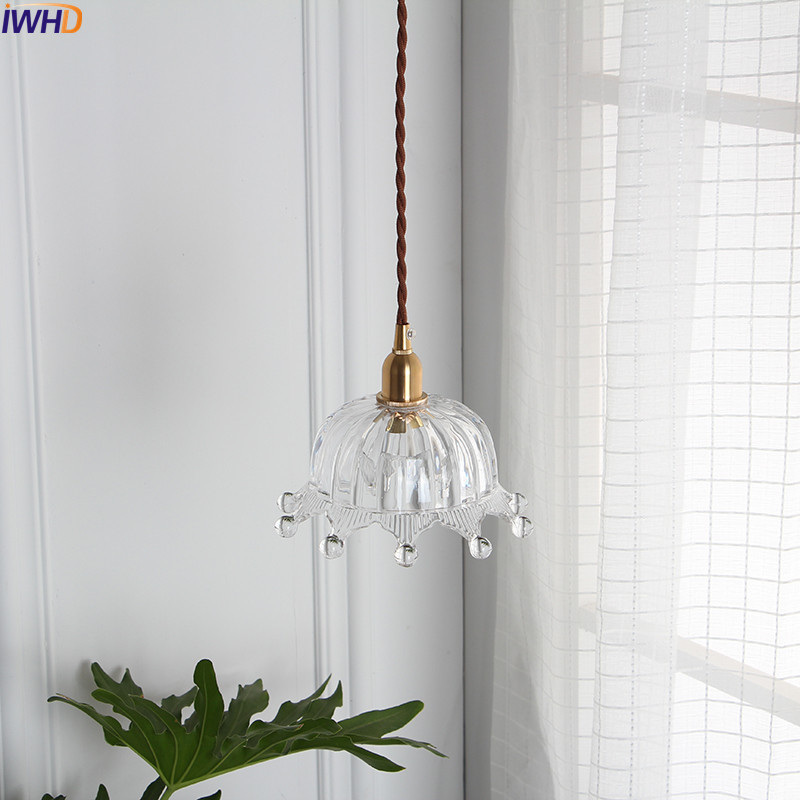 Image 4 - IWHD Nordic Copper Glass Pendant Light Fixtures Bedroom Living Room Loft Pendant Lights Hanging Lamp Luminaire Lighting-in Pendant Lights from Lights & Lighting